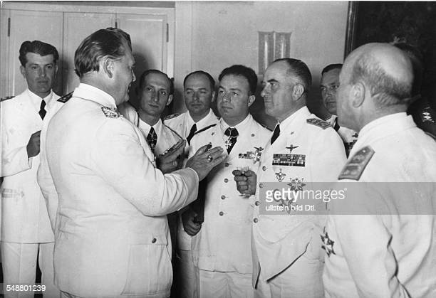Goering Hermann Politician NSDAP Germany *12011893 reception for a delegation of the italian air force in carinhall Hermann Goering talking to...