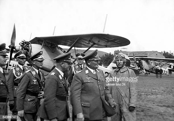 Goering Hermann Politician NSDAP Germany*12011893 visits a fighter squadron of the German Luftwaffe in Fuerth undated Photographer...