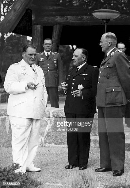 Goering Hermann Wilhelm Politician NSDAP Germany*12011893 with General Joseph Vuillemin in Carinhall undated Photographer PresseIllustrationen...