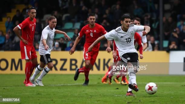 Goerkem Saglam of Germany scores their first goal during the international friendly U20 match between U20 Germany and U20 Switzerland at Edmund...