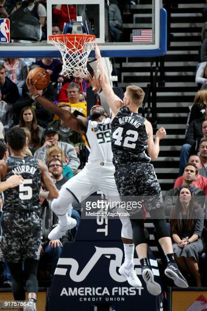 CITY UT FEBRUARY goes to the basket on during the game against the San Antonio Spurs on February 12 2018 at vivintSmartHome Arena in Salt Lake City...