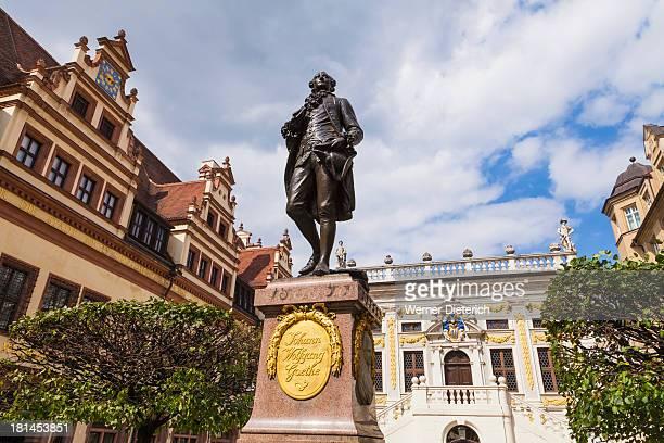 Goethe monument at Naschmarkt square, Leipzig