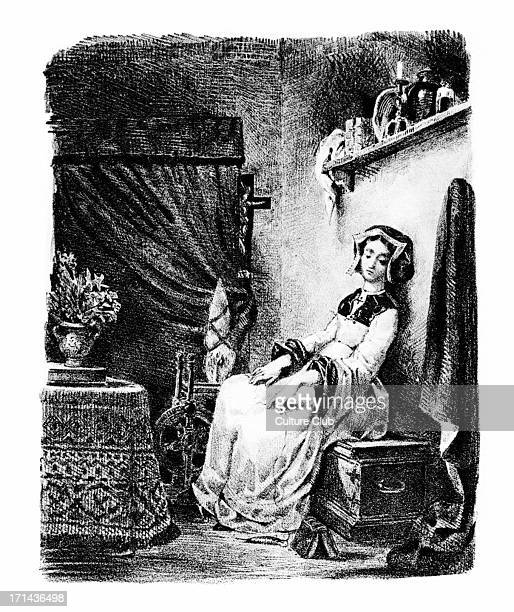Goethe 's Faust 1828 Marguerite / Gretchen at the spinning wheel Lithograph by Eugene Delacroix German poet novelist dramatist and philosopher August...