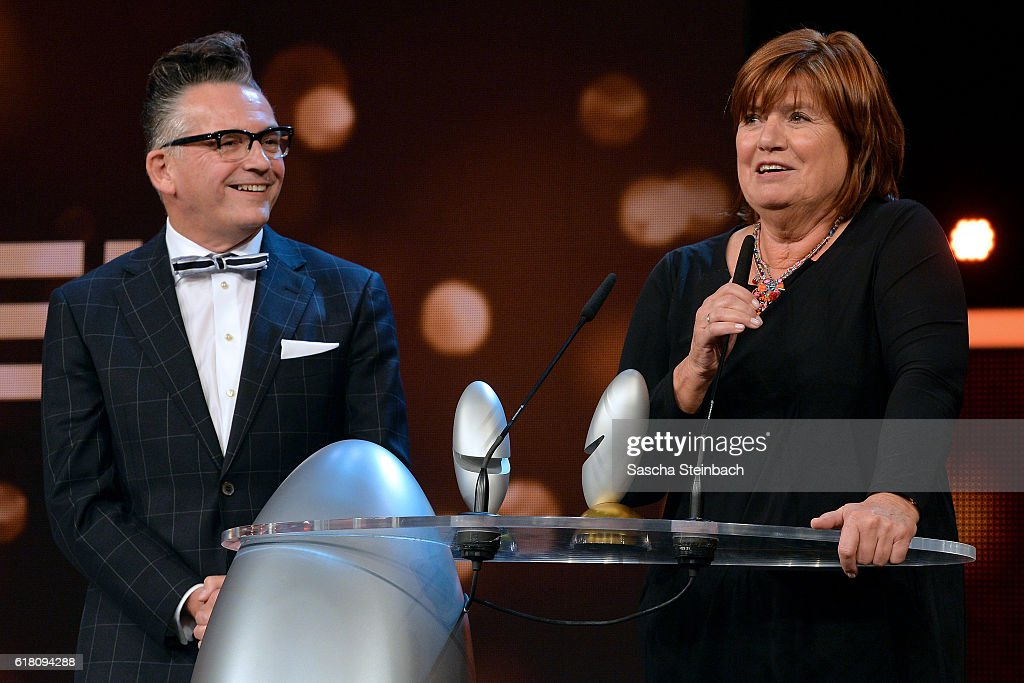 Goetz Alsmann and Christine Westermann attend the 20th Annual German Comedy Awards at Coloneum on October 25, 2016 in Cologne, Germany.