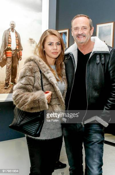Goetz Elbertzhagen and his girlfriend Lydia Becker during the exhibition opening 'PortrAid Get art Give work' at DRIVE Volkswagen Group Forum on...