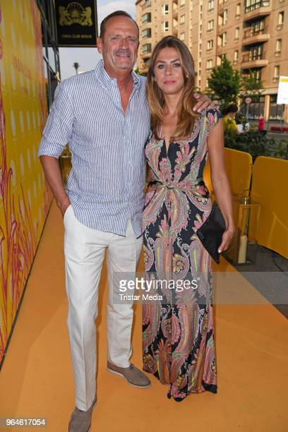 Goetz Elbertzhagen and his girlfriend Lydia Becker during the celebration of the first anniversary of indian Restaurant India Club on May 31 2018 in...