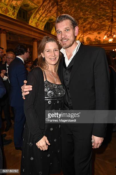 Goetz Otto and his wife Sabine during the Bavarian Film Award 2016 show at Prinzregententheater on January 15 2016 in Munich Germany