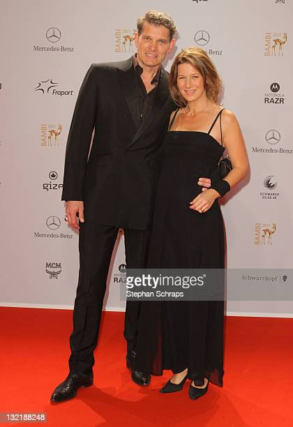 Goetz Otto and wife Sabine attend the Red Carpet for the Bambi Award 2011 ceremony at the RheinMainHallen on November 10 2011 in Wiesbaden Germany