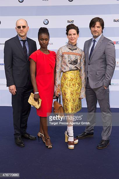 Goetz Schubert, Bibiana Beglau, Misel Maticevic attend the producer party 2015 of the Alliance German Producer - Cinema And Television on June 11,...