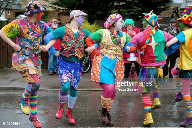 Gog Magog Molly performing at A Day of Dance the largest annual gathering of Molly dancers in the UK in Little Downham on 27th January 2018 Molly...
