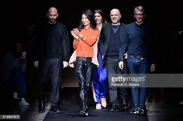 Goga Ashkenazi and fashion designer Hussein Chalayan for Vionnet acknowledge the audience at the end of theVionnet show as part of the Paris Fashion...