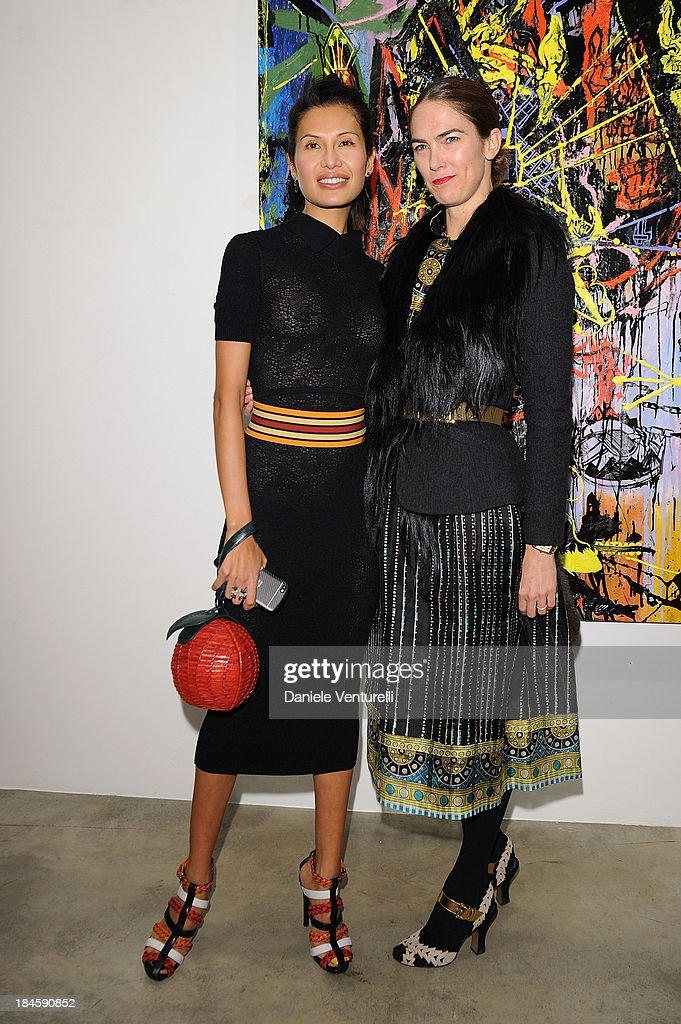 Goga Ashkenazi and JJ Martin attend Cardi Black Box Gallery Present Nicolas Pol hosted by Nicolo Cardi And Vladimir Restoin Roitfeld at Cardi Black Box on October 14, 2013 in Milan, Italy.