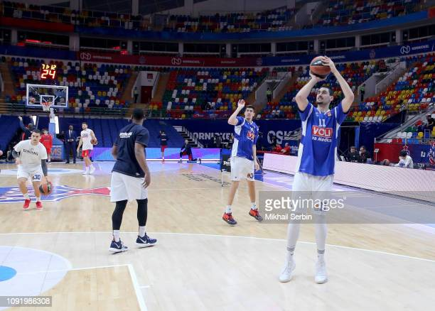 Goga Bitadze #11 of Buducnost Voli Podgorica before during the 2018/2019 Turkish Airlines EuroLeague Regular Season Round 21 game between CSKA Moscow...