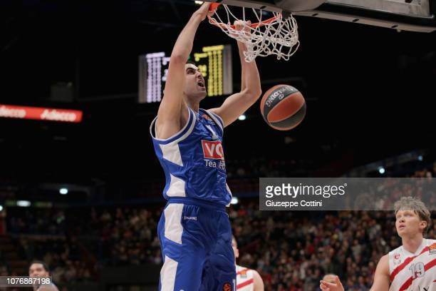 Goga Bitadze #11 of Buducnost Voli Podgorica in action during the 2018/2019 Turkish Airlines EuroLeague Regular Season Round 16 game between AX...