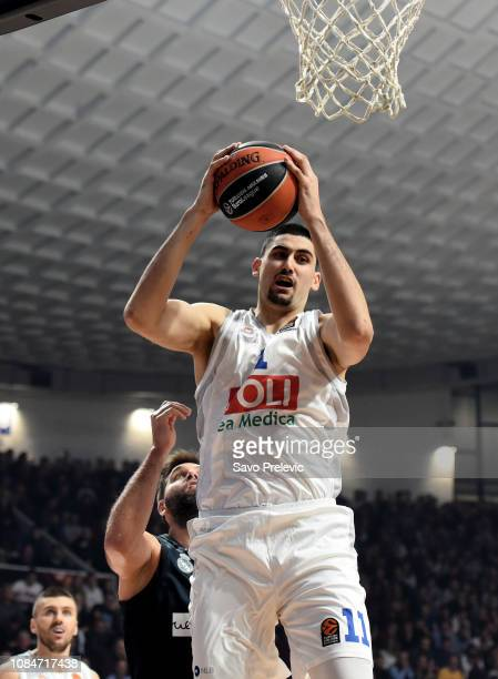 Goga Bitadze #11 of Buducnost Voli Podgorica in action during the 2018/2019 Turkish Airlines EuroLeague Regular Season Round 19 game between...