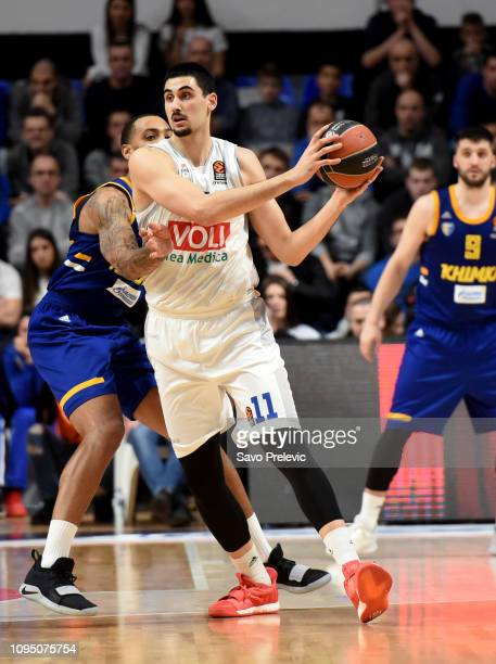 Goga Bitadze #11 of Buducnost Voli Podgorica in action during the 2018/2019 Turkish Airlines EuroLeague Regular Season Round 22 game between...