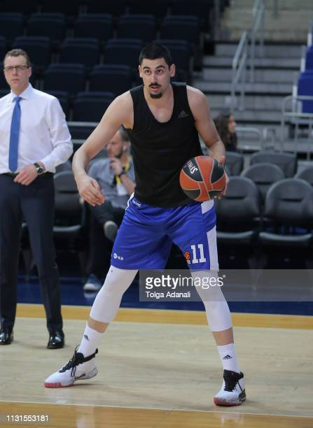 Goga Bitadze #11 of Buducnost Voli Podgorica in action during the 2018/2019 Turkish Airlines EuroLeague Regular Season Round 27 game between...