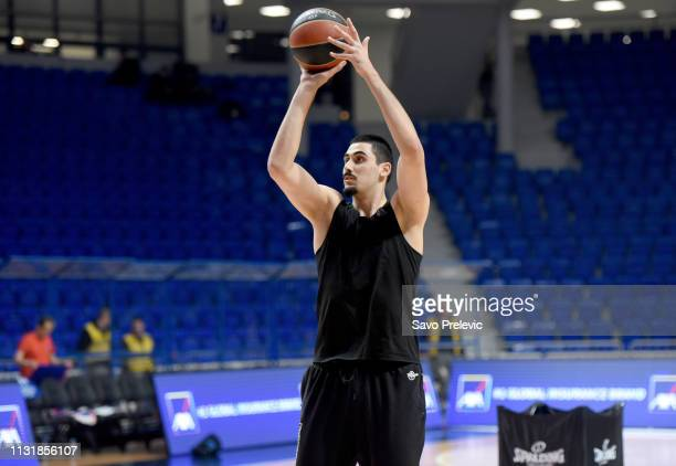 Goga Bitadze #11 of Buducnost Voli Podgorica warm up during the 2018/2019 Turkish Airlines EuroLeague Regular Season Round 28 game between Buducnost...