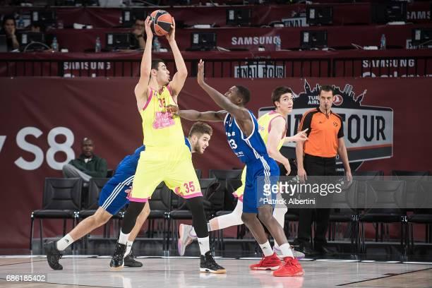 Goga Bitadze #35 of U18 Mega Bemax Belgrade in action during the EuroLeague Basketball Adidas Next Generation Tournament Championship Game between...