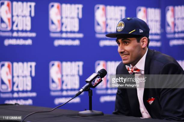 Goga Bitadze is interviewed after being drafted the Indiana Pacers during the 2019 NBA Draft on June 20 2019 at the Barclays Center in Brooklyn New...