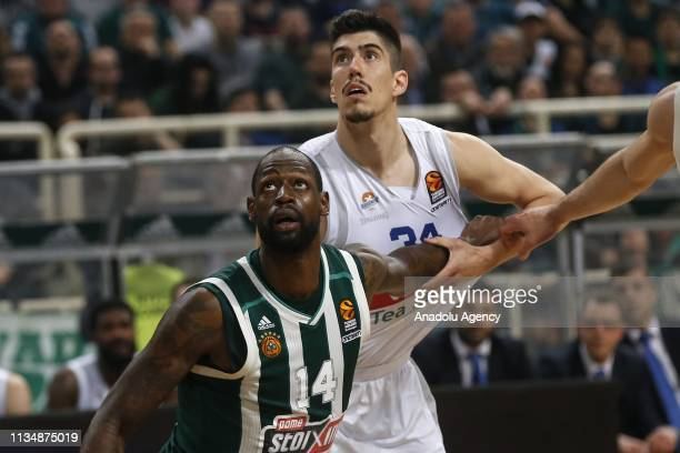 Goga Bitadze of Buducnost VOLI in action against James Gist of Panathinaikos during Turkish Airlines Euroleague week 30 basketball match between...