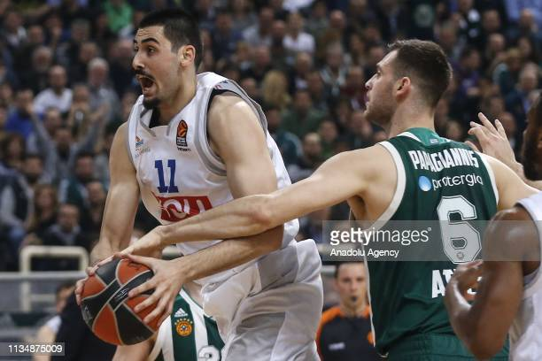 Goga Bitadze of Buducnost VOLI in action against Papagiannis of Panathinaikos during Turkish Airlines Euroleague week 30 basketball match between...