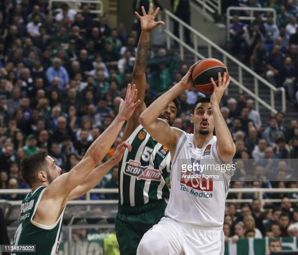 Goga Bitadze of Buducnost VOLI in action against Papapetrou of Panathinaikos during Turkish Airlines Euroleague week 30 basketball match between...