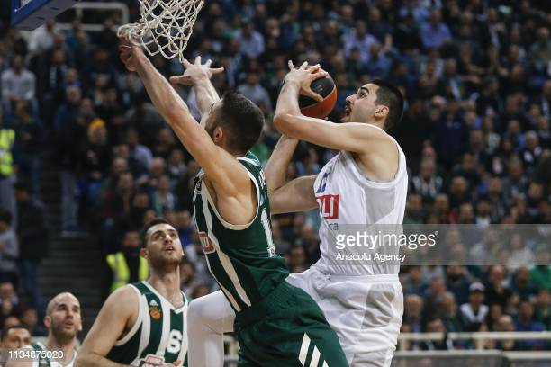 Goga Bitadze of Buducnost VOLI in action during Turkish Airlines Euroleague week 30 basketball match between Panathinaikos and Buducnost VOLI at the...