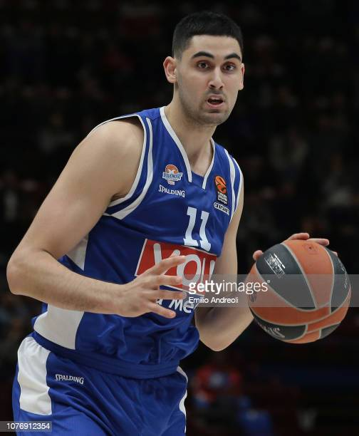 Goga Bitadze of Buducnost Voli Podgorica dribbles during the Turkish Airlines EuroLeague Regular Season Round 16 match between AX Armani Exchange...