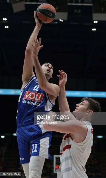 Goga Bitadze of Buducnost Voli Podgorica shoots against Arturas Gudaitis of AX Armani Exchange Olimpia Milan during the Turkish Airlines EuroLeague...