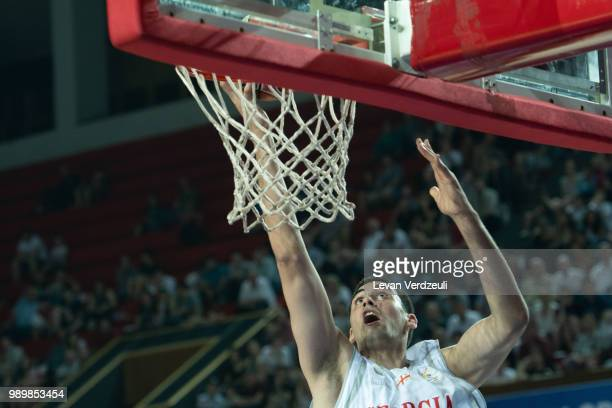 Goga Bitadze of Georgia dunks the ball during the FIBA Basketball World Cup Qualifier match between Georgia and Austria at Tbilisi Sports Palace on...