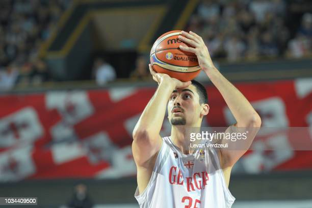 Goga Bitadze of Georgia shoots the ball during the FIBA Basketball World Cup 2019 European Qualifier match between Georgia and Greece at Tbilisi...