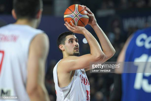 Goga Bitadze of Georgia shoots the ball during the FIBA Basketball World Cup 2019 European Qualifier match between Georgia and Israel at Tbilisi...