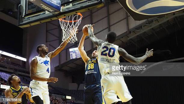 Goga Bitadze of the Fort Wayne Mad Ants shoots the ball against the Delaware Blue Coats on February 09, 2020 at Memorial Coliseum in Fort Wayne,...