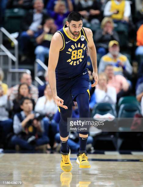 Goga Bitadze of the Indiana Pacers celebrates after a three point shot against the Washington Wizards at Bankers Life Fieldhouse on November 06 2019...