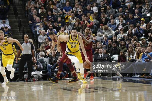 Goga Bitadze of the Indiana Pacers handles the ball against the Cleveland Cavaliers on November 1 2019 at Bankers Life Fieldhouse in Indianapolis...
