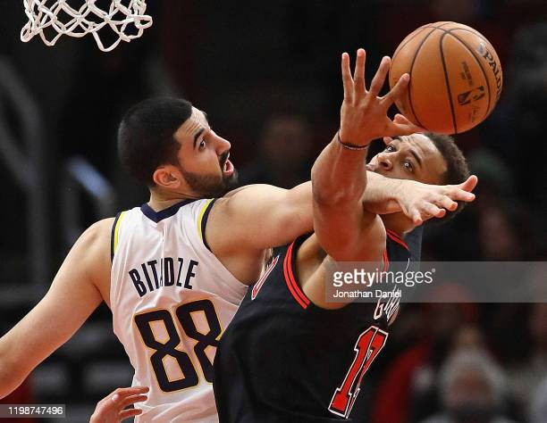Goga Bitadze of the Indiana Pacers knocks the ball away from Daniel Gafford of the Chicago Bulls at the United Center on January 10, 2020 in Chicago,...