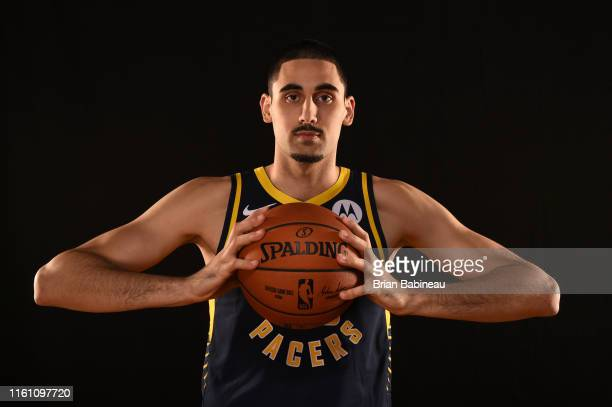 Goga Bitadze of the Indiana Pacers poses for a portrait during the 2019 NBA Rookie Photo Shoot on August 11 2019 at the Fairleigh Dickinson...