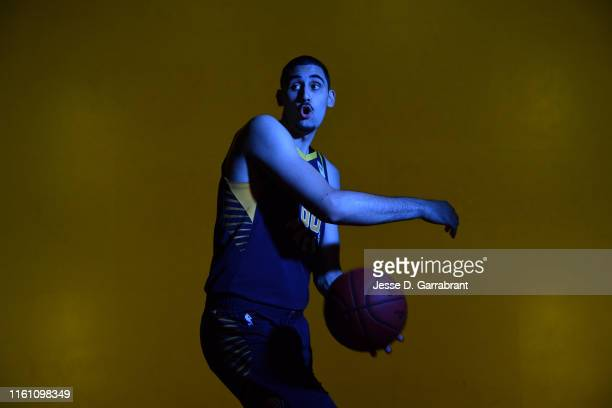 Goga Bitadze of the Indiana Pacers poses for a portrait during the 2019 NBA Rookie Photo Shoot on August 11 2019 at Fairleigh Dickinson University in...