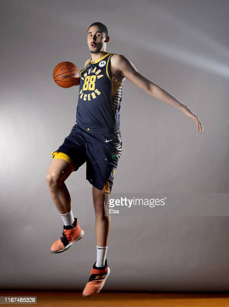 Goga Bitadze of the Indiana Pacers poses for a portrait during the 2019 NBA Rookie Photo Shoot on August 11 2019 at the Ferguson Recreation Center in...