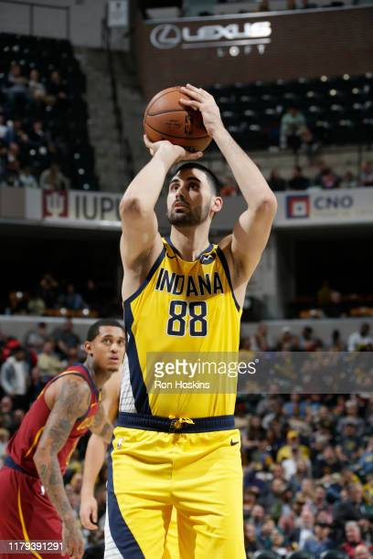 Goga Bitadze of the Indiana Pacers shoots a free throw against the Cleveland Cavaliers on November 1 2019 at Bankers Life Fieldhouse in Indianapolis...