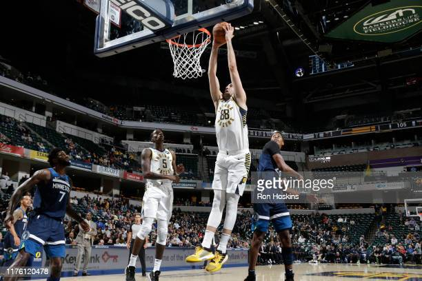 Goga Bitadze of the Indiana Pacers shoots the ball against the Minnesota Timberwolves during a preseason game on October 15 2019 at Bankers Life...