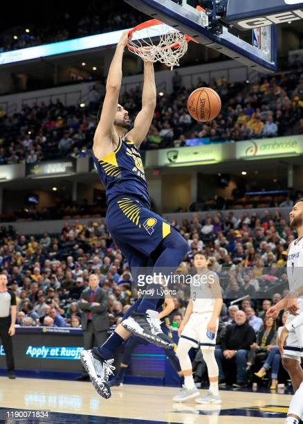 Goga Bitadze of the Indiana Pacers shoots the ball against the Memphis Grizzlies at Bankers Life Fieldhouse on November 25 2019 in Indianapolis...
