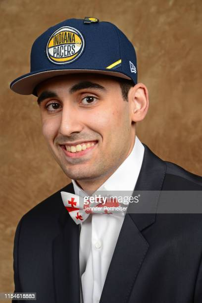 Goga Bitadze poses for a portrait after being drafted by the Indiana Pacers at the 2019 NBA Draft on June 20 2019 at Barclays Center in Brooklyn New...