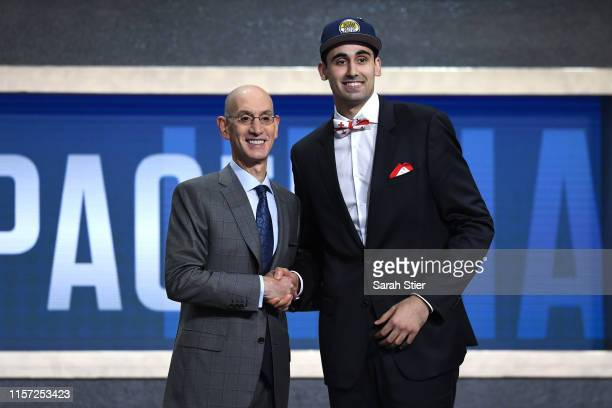 Goga Bitadze poses with NBA Commissioner Adam Silver after being drafted with the 18th overall pick by the Indiana Pacers during the 2019 NBA Draft...
