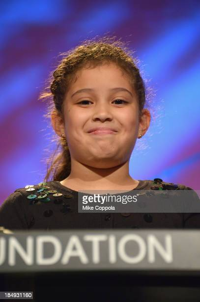 GoGirlGo Amanda Rivera speaks onstage during the 34th annual Salute to Women In Sports Awards at Cipriani Wall Street on October 16 2013 in New York...