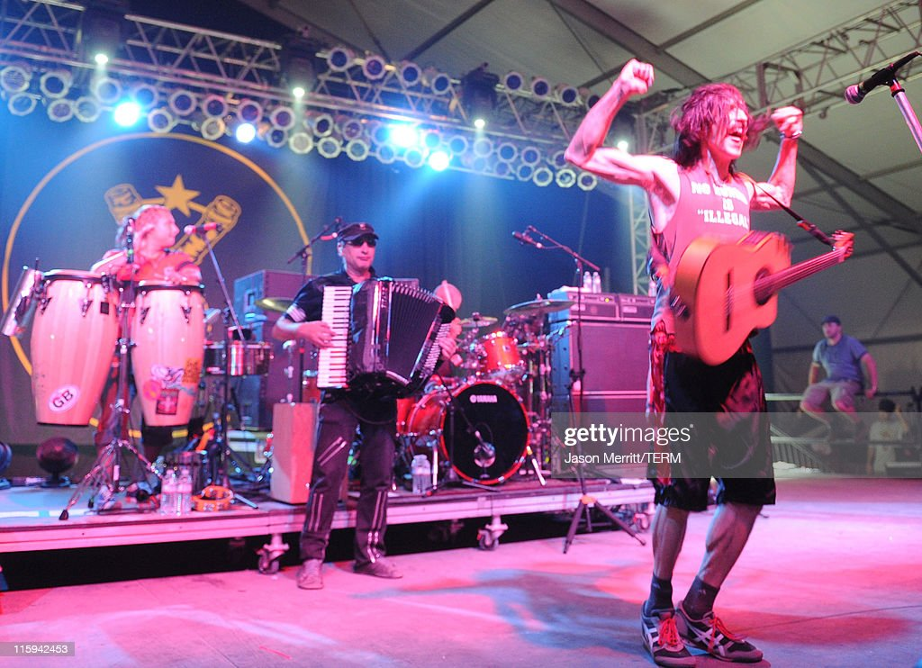 Gogol Bordello performs on stage during Bonnaroo 2011 at The Other Tent on June 11, 2011 in Manchester, Tennessee.
