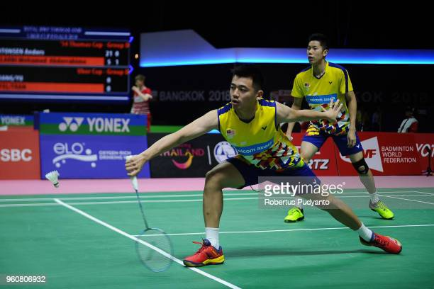 Goh V Shem and Tan Wee Kiong of Malaysia compete against Vladimir Ivanov and Ivan Sozonov of Russia during Preliminary Round on day two of the BWF...
