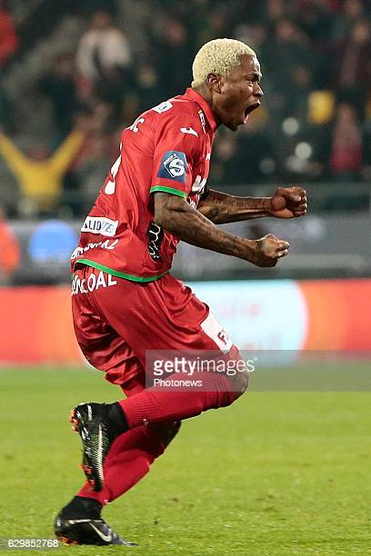 Gohi Bi Zoro Cyriac forward of KV Oostende celebrates scoring the opening goal during the Croky Cup quarter final match between KV Oostende and KAA...