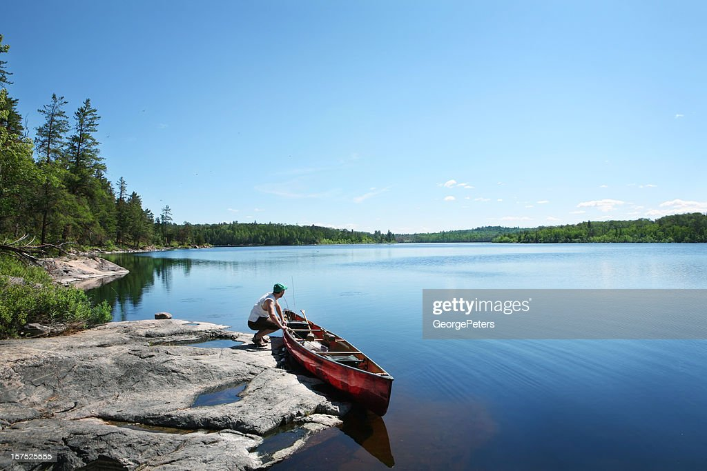 Going Fishing on a Wilderness Lake : Stock Photo